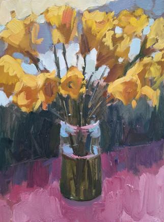 Daffodils on Pink Tablecloth.jpg