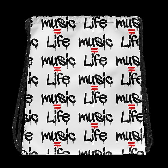 Music=Life Drawstring bag