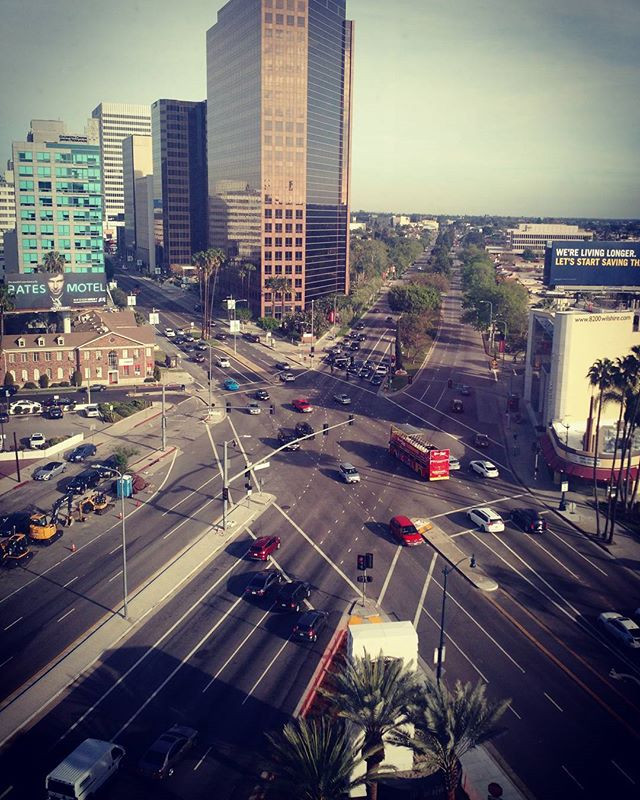 View of San Vicente & Wilshire in Beverly Hills