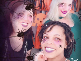 Angela, Cedar and Candace volunteered to test out the selfie station before the #Accounting #Hallowe