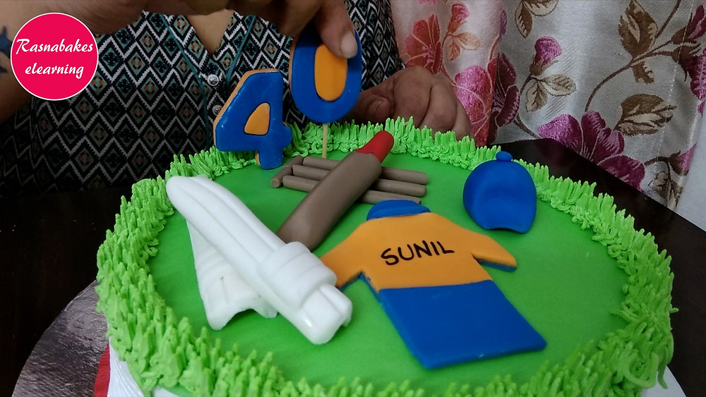 cake designing 40th birthday cricket cake for husband