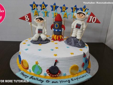 Space Planet Galaxy Rocket theme Birthday Cake Gift