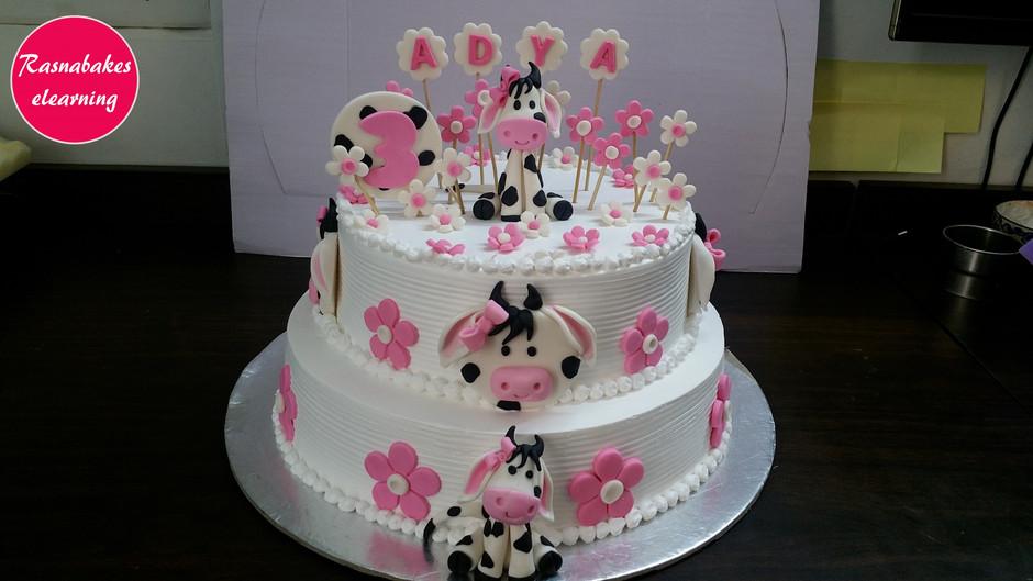 Cute Moo Cow birthday cake designing