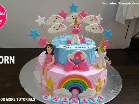 Cake decoration with fondant on whipped cream cakes