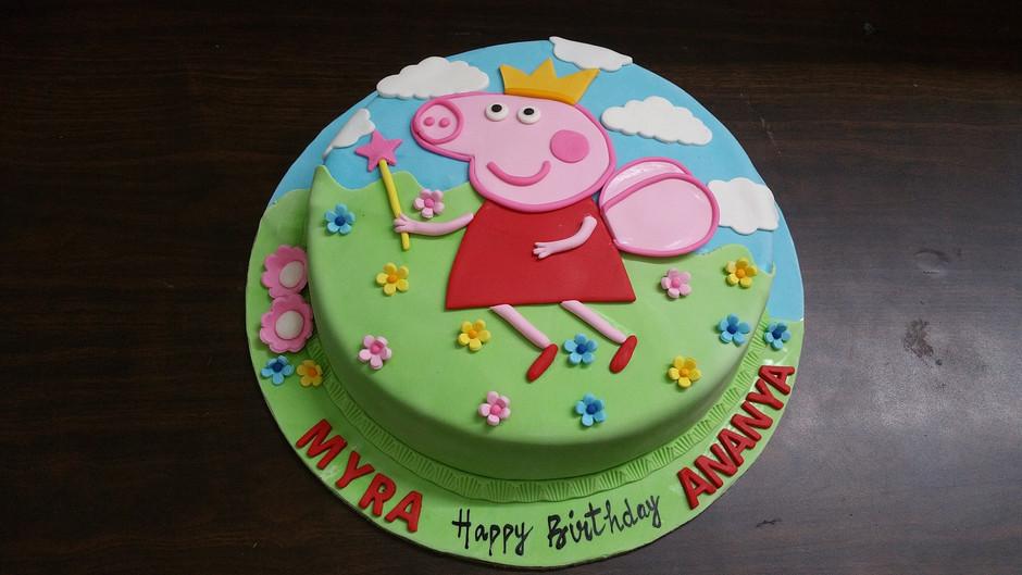 peppa pig youtube kids 2d or 3d birthday cake videos:peppa pig world of play design ideas