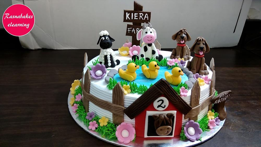 Farm Animals Theme 2nd Birthday Cake