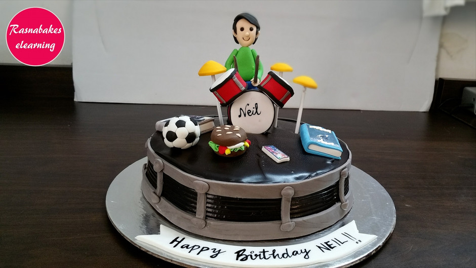 Drums cake decorating step by step method and tutorial