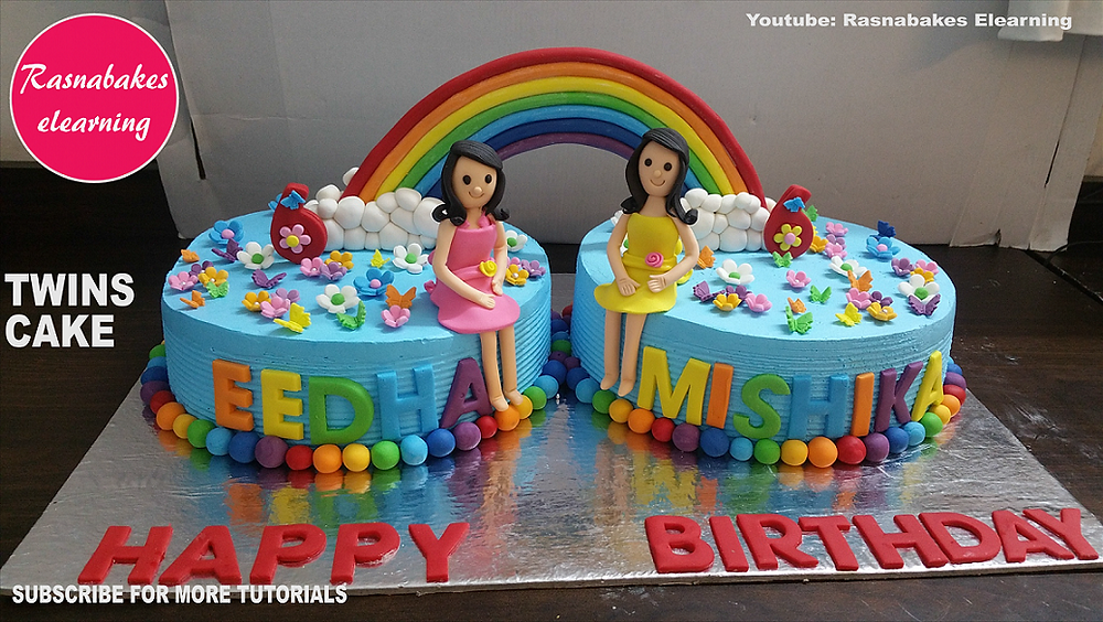 Stupendous Twins Baby Birthday Cake Personalised Birthday Cards Paralily Jamesorg