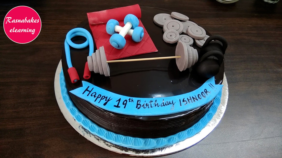 Gym fitness theme birthday cake decorating work from home