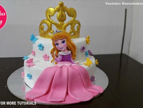 happy birthday or baby Shower disney princess crown cake design ideas decorating tutorial