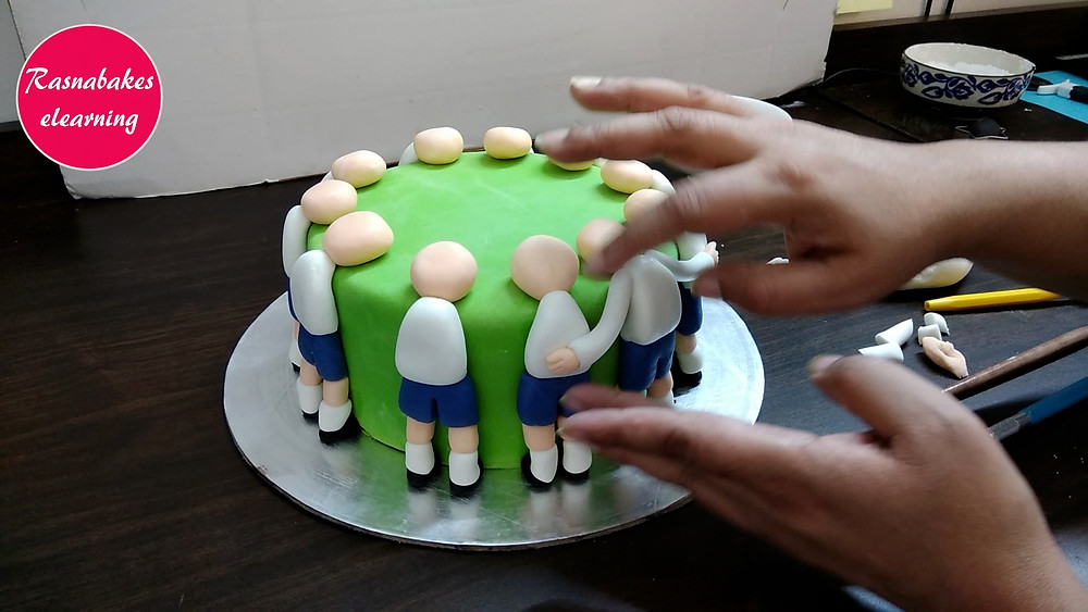 footballer cake fondant design covering a cake with fondant