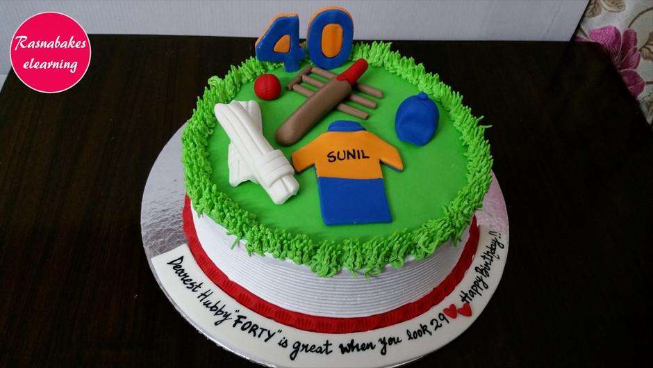 40th Birthday Cricket theme Cake design