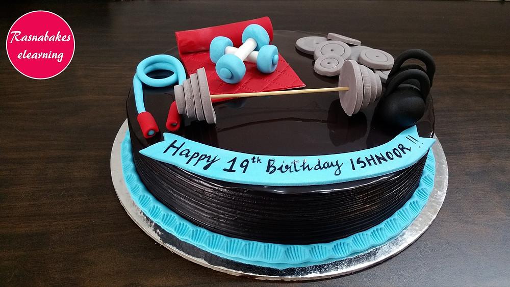 gym fitness theme birthday design ideas step by step  decorating cake tutorial