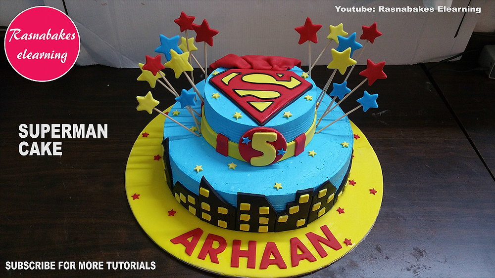 Birthday cake with name and other decorations