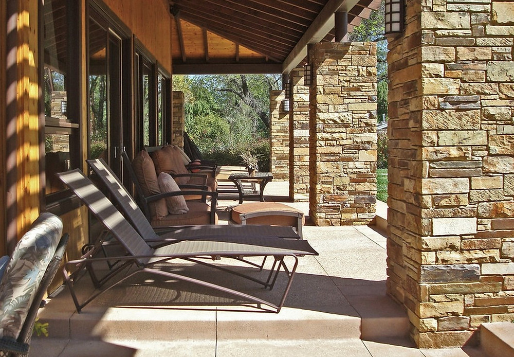 Beautiful stone cladding veneers for columns, piers, posts and pillars. New home building.