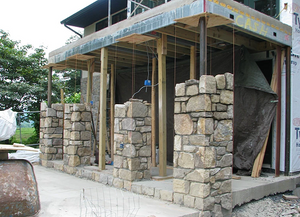 Stone cladding veneer for pillars, piers and columns
