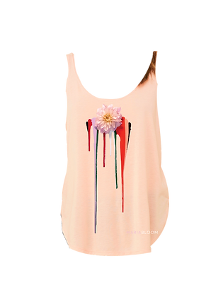 Bleeding Dahlia Ladies' Tank (Pink, Black)