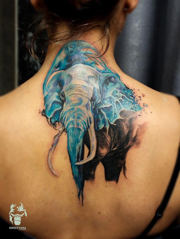 татуировка в виде слона, татуслон, слон, татуировка, татуировка в екатеринбурге