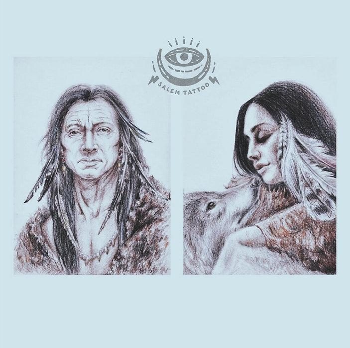 Портреты индейцев, в карандашах, цветные карандаши, искусство, рисование, эскиз.