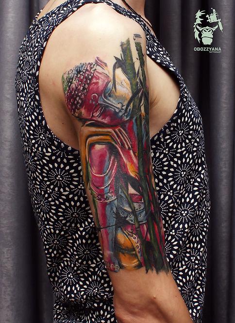 """Перекрытие для Антона. Надпись - глубоко пробитая ( шрамирование) , но важная для Антона, поэтому она спрятана в текстуре бамбука. На фото не до конца зажившая работа, голова """"свежая"""". #tattooartist #art #artwork #bohemianartist #tattoo #художник #мастертату #арт #иллюстрация #рисунок #тату #эскизтату #sketchtattoo #tats #tattoos #tattooing #tattooist#tattoomodel #drawing #tattoodesign #tattooart #tattooflash #flashtattoo #tattoolife #ink #like4like #tattoolife #trueman #tattooekb #татуекатеринбург"""