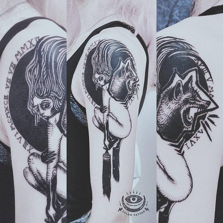 Работа второго дня на Ural Tattoo Convention 2017😉 #anastasiasalem #salemtattoo #malertattoo #tattoo #tattooartist #tattoomaster #uraltattoofest #uraltattooconvention #graphictattoo #surrealismtattoo #foxtattoo #onlyblackart #darkartists #татуекатеринбург #татумастерица @ МУЗЕЙ Архитектуры и Дизайна УрГАХУ