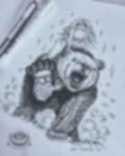 Графика, гравюра, черно-белая, медведь, наездница