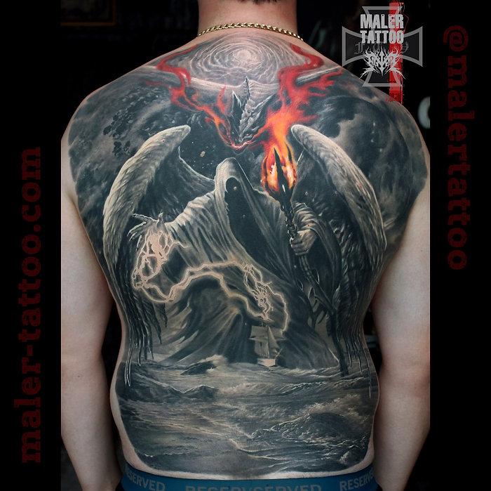 В данной работе за основу взят персонаж художника #ЛеоХао, которым был вдохновлен обратившийся ко мне Александр. Персонаж остался неизменным, так как важен для носителя, но он получил новое духовное развитие. Итогом работы стал симбиоз совместного творчества, в котором воплотились, как желания носителя, так и мое видение и стремление по-новому раскрыть потенциал героя и сюжета. #силатату #tattoo #tattoos #inksociety #tattooed #art #тату #татуировка #татуировкаекатеринбург #malertattoo #ink #малертату #eternalink #tattoorussia #tattoopower #instagram #ekb #tattoolife #ekbtattoo #tattooist #cheyennetattooequipment #inktattoo #hawkpen #hawkpentattoomachine