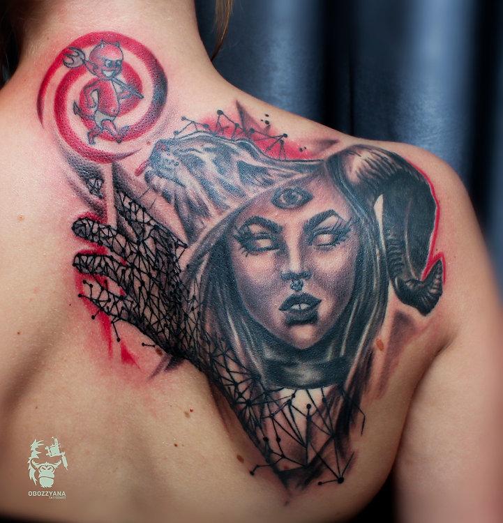 Наверное это моя самая странная работа, навеяна творчеством Дениса Москалева (https://vk.com/tattoofff) . Чертик на шее имелся и был важен, его надо было вписать. И вот что вышло из моей больной головы. Что-то просто придумывалось на ходу, посему спасибо Яне за доверие.  #tattooartist #art #artwork #tattoo #мастертату #арт #тату #эскизтату #sketchtattoo #tats #tattoos #tattooing #tattooist #tattoomodel #tattoodesign #tattooart #tattooartists #tattoo #tattoolife #ink #like4like #tattooing #tattooekb #follow4follow #татуекб #татуекатеринбург
