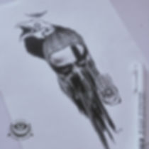 эзотерическая картинка в графике тату скиз