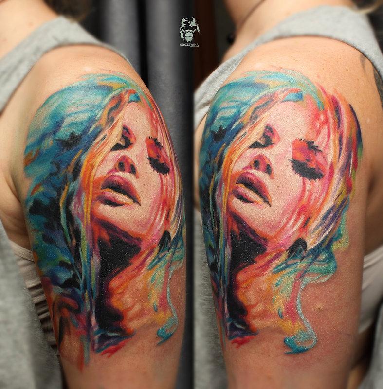 Тутировка в Екатеринбурге, каталог татуировок, сделать татуировку, лучшие татуировки 2017, цветная татуировка, портрет девушки