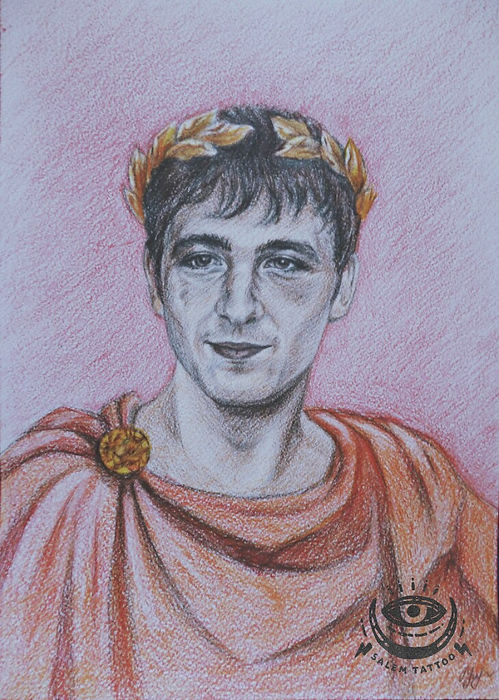 Портрет Юлий Цезарь, в карандашах, цветные карандаши, искусство, рисование, эскиз.
