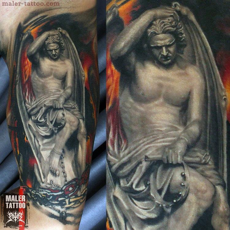 Свежая работа от [id135727636 Павла Maler] - фрагмент [id16902315 Николая], скульптура - Люцифера, специально на несколько слоев закован в цепи, чтобы сильно не вылазил 😈👽 #силатату #tattoo #tattoos #inksociety #tattooed #art #тату #татуировка #татуировкаекатеринбург #malertattoo #ink #малертату #eternalink #tattoorussia #tattoopower #instagram #tattoostudio #love #ekb #tattoolife #ekbtattoo #tattooist #cheyennetattooequipment #inktattoo #hawkpen #hawkpentattoomachine