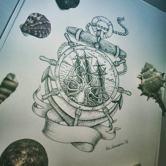 Морской тату эскиз, тату скетч на морскую тематику