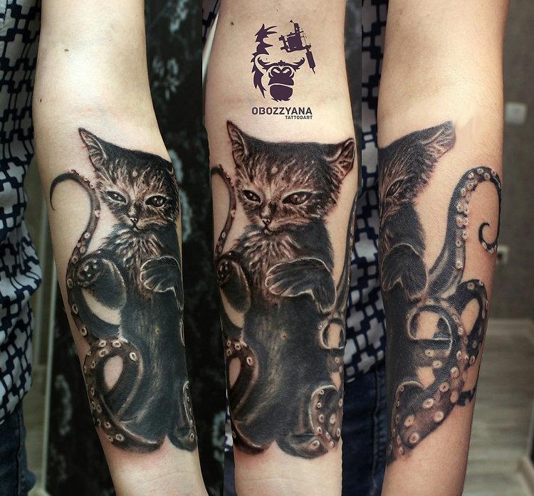 By me in @malertattoo studio. Милый котофей - осьминог для Дарьи. К слову, Дарья пришла в своё день рождение ко мне и сделала себе подарок на 18 лет.  #tattooartist #art #artwork #bohemianartist #tattoo #художник #мастертату #арт #иллюстрация #рисунок #тату #эскизтату #sketchtattoo #tats #tattoos #tattooing #tattooist #tattoomodel #drawing #tattoodesign #tattooart #tattooflash #flashtattoo #tattoolife #ink #like4like #tattoolife #tattooekb #obozzyana