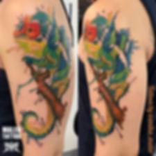 хамелеон тату, хамелион, акварель тату, сделать тату в екб не дорого, каталог татуировок