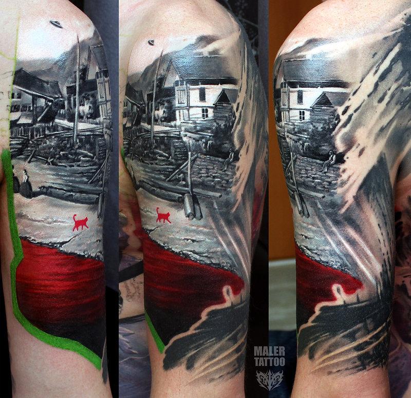 "Мастер - @maler99 (Pavel Maler) ""КРАСНЫЙ""_2017, фрагмент большой тату. #red  Больше работ на сайте maler-tattoo.com #PavelMaler #ПавелМалер #MalerTattooStyle"