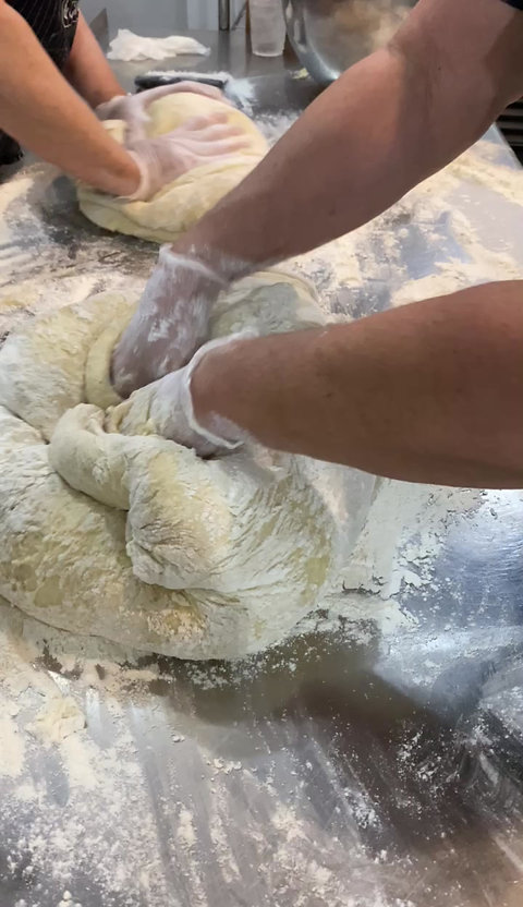 The Burley Market Cinnamon Roll Making
