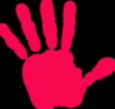Image: Bright pink handprint.