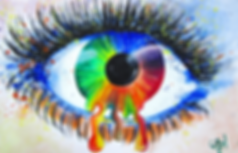 Image: Hand-drawn eye in rainbow colors