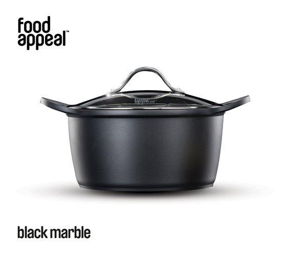 """סיר 24 ס""""מ 5 ליטר מסדרת BLACK MARBLE מבית FOOD APPEAL"""