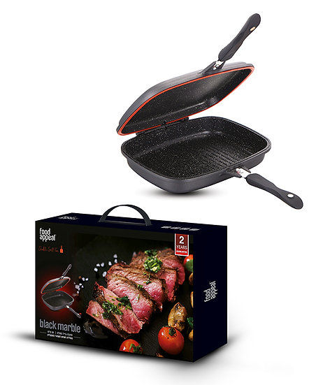 Food Appeal Black Marble Detachable Double Grill Pan 32 cm