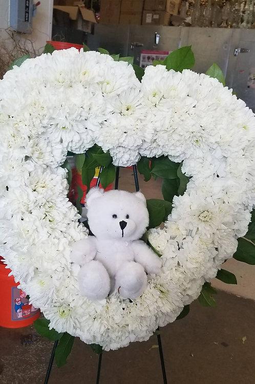 white baby  teddy heart
