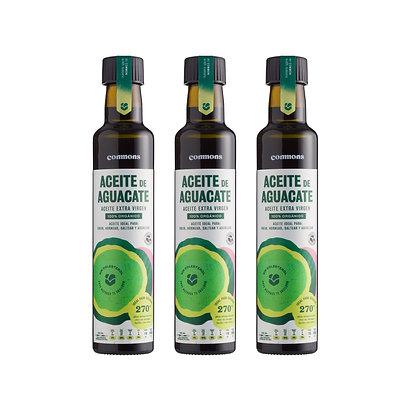 3-Pack Aceite de aguacate orgánico 250 ml.