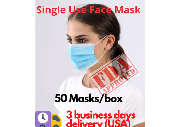 Single Use Face Mask 3 Ply Protection Mask Daily Use Mask 50-pack