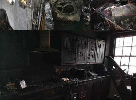 Fire damage caused by a faulty appliance