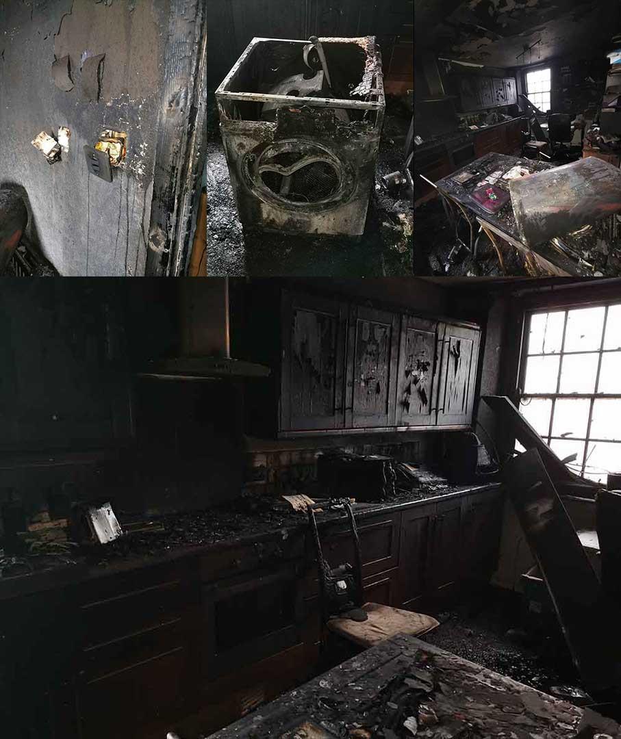 Burnt out pub after drier caught fire