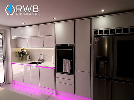 RWB Electrical Services pink accent LED lighting installed in new kitchen