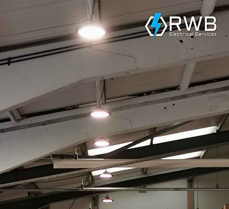 RWB Electrical Services commercial pendant lighting installed in warehouse