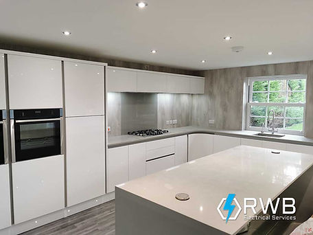 RWB Electrical Services newly fitted kitchen with recessed lighting