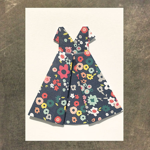 Origami greeting card, Floral Dress
